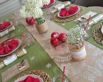 Rustic Christmas New Years Burlap Gold/ Silver Hessian Dinner Party Decor Pack