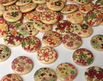 Rosey's Craft Shops 100 x Pattern 15mm Buttons Wooden Craft Card Embellishment Shabby Chic Flower