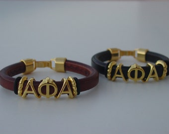 Alpha Phi Alpha Sliding Greek Letters Leather Bracelet Custom Made Mens Licorice Your Initials Clip Clasp Choose Color