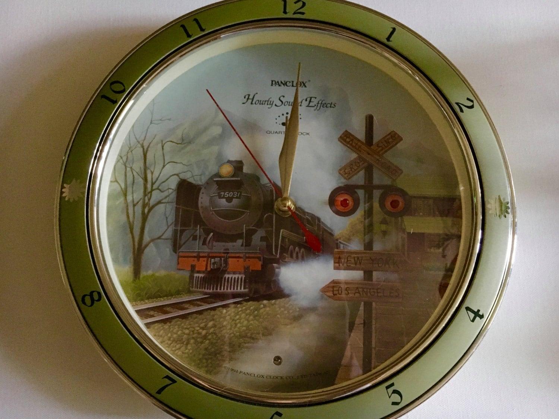 Vintage 1994 Panclox Battery Wall Clock Collector Railroad