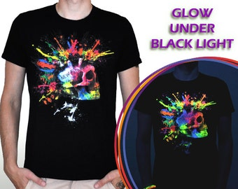 Rave punk - EDM t shirt Glow in the Dark and under UV black light rave clothing EDM crazy tshirt funny wear cool edm tee