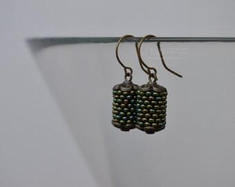 Olive beaded earrings Mint earrings Seed beads earrings Beaded tube earrings Green beaded tubule earrings Cylinder earrings Bronze earrings
