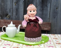 Tea Party Birthday, Teapot Cozy, Mothers Day Gift, Hostess Gift Ideas, Wedding Gift ideas, Kitchen Decor, Soft Doll on the Kettle, OOAK.