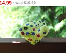 Lucky Elephant, Summer Elephant, Animal Sculpture, Yellow Elephant, Rainbow elephant, Gift for her, Made from salt dough