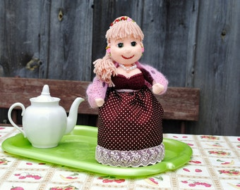 Tea Party Birthday, Teapot Cozy, Mothers Day Gift, Hostess Gift Ideas, Wedding Gift ideas, Kitchen Decor, Soft Doll on the Kettle, OOAK.