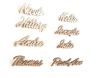 Wood Name Tags,Wedding Gift,Guest Names,Place Settings,Escort Cards,Business Launch,Blog Event,Calligraphy Signs,Custom,Laser Cut Signs