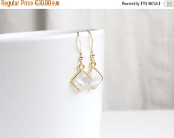 ON SALE MOONSTONE. Earrings Moon stone and gold 14 k