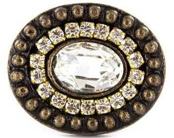 New set 2 Brass Oval Rhinestone Clear Knobs Art Deco Handle Pulls Beautiful