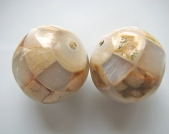 Jumbo shell bead, faceted bead, 2 beads, 21mm - 595