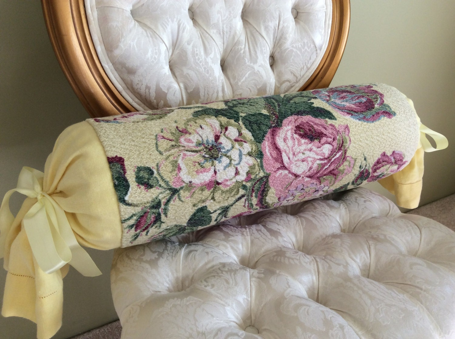 Yellow And Pink Long Bolster Pillow Bark Cloth Irish Linen Floral Decorative Pillow Home Decor Pillows