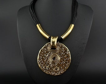 EMB 022 Golden simple tag pendant necklace