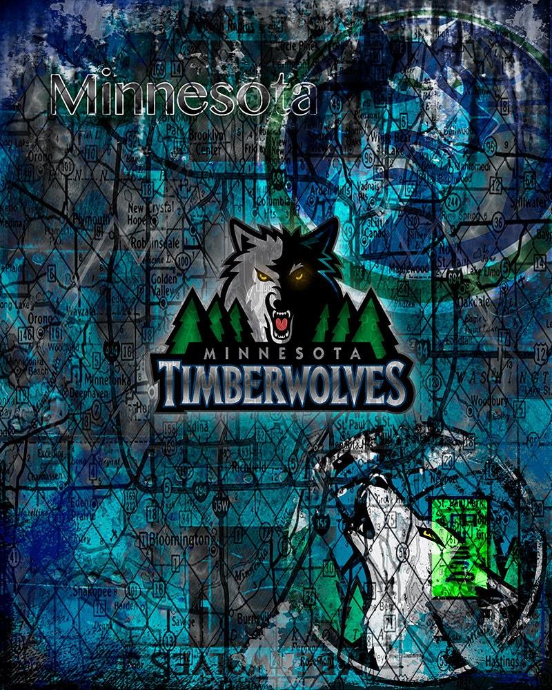 Minnesota Timberwolves: Minnesota Timberwolves Art Minnesota Timberwolves By McQDesign