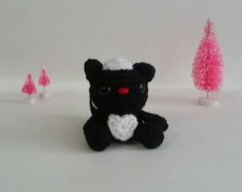 Crochet Skuck Mini Amigurumi Crochet Skunk Kawaii Skunk Stuffed Animal Skunk Chibi Plush Toy