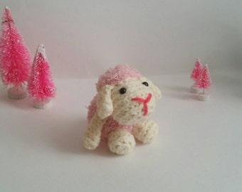 Valentine Lamb Amigurumi Stuffed Animal Baby Sheep Mini Pet Kawaii Chibi Gift Toy Collectible Room Decoration