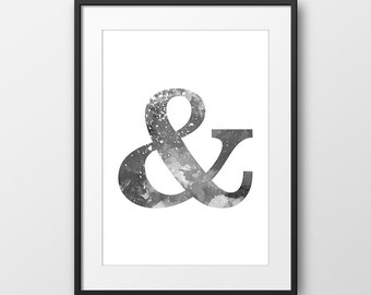 Ampersand Black and White Print, Typography Print, Ampersand Watercolor, Letter Print, Minimalist Art, Typography Poster, Modern (No A0219)