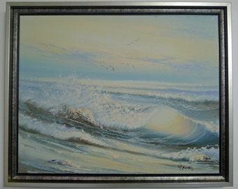 Custom Framed Art, Original Oil Painting of Ocean Waves