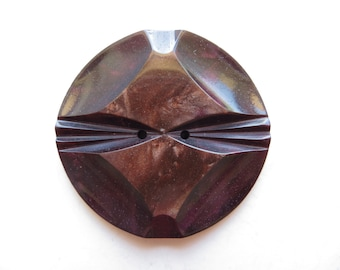 1930's Antique Art Deco Purple Brown Carved Mottled Bakelite Couture Coat Collectible Button-40mm