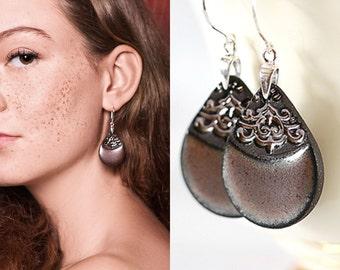 Ceramic dangle earrings Clay earrings Black dangle earrings Gray earrings sterling silver earwires Elegant Unique earrings Ceramic jewelry