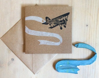 Hand Printed Personalised Bi-Plane Kraft Card