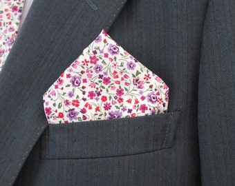"Liberty print floral pocket square in  ""Kimberley & Sarah ""  ~purple and pink floral ~ pochette ~ hankerchief"