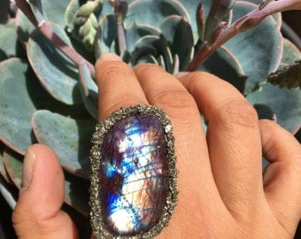 Exotic Labradorite and Pyrite Ring