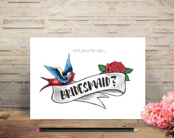 Tattoo Wedding 'Will You Be My...' or 'Thank You For Being My...' Cards – Bridesmaid / Maid of Honour / Bridesman