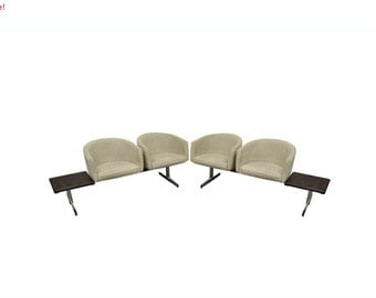 10% Off Sale! Vintage Mid Century Danish Modern Rosewood End Tables Club Chairs Sectional Sofa