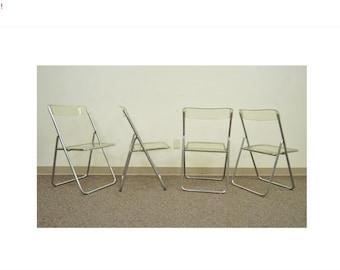 10% Off Sale! 4 Vintage Mid Century Modern Hoganasmobler Chrome & Lucite Folding Side Chairs