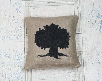 Tree Pillow, Burlap Pillow, Rustic Decor, Decorative Pillow
