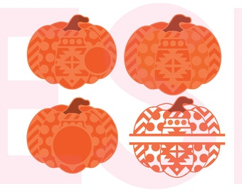 Pumpkin SVG, DXF, EPS, circle monogram cutting files. Aztec, Chevron and Polka dot, use with Silhouette Studio and Cricut Design Space.