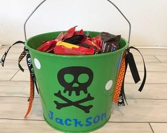 Halloween Bucket- Metal Bucket- Halloween bag- Trick or Treat Bucket- Personalized Halloween Bucket- Personalized Bucket- Skull Halloween