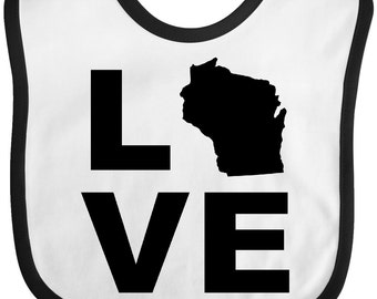 Love Wisconsin Baby Bib by inktastic