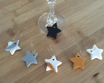 Wine glass charms. Set of 6 star wine glass charms. Drink ware. Polymer clay wine glass tags. Star charms. Bar ware