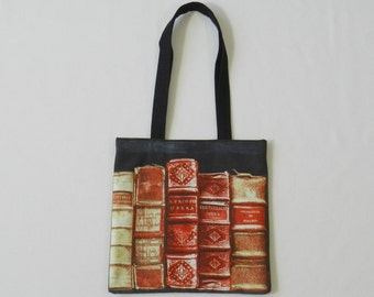 Old books book bag - Shopping bag - Tote bag - Lined fabric bag - Library bag - Book tote - Book lover