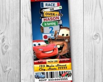 Disney Cars Ticket Invitation - Cars Birthday Party - Disney Cars Printable - Cars Tickets - Lightning McQueen Invitation