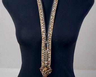 Adjustable Handmade Necklace with AB Swarovski Crystal Embelishment