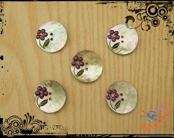 5 pearl buttons, enamel flower, mm.28