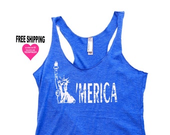 4th of July Shirt Women. American Flag Shirt. Women's Tank Top -Merica. Fourth of July. July 4th Tank. 4th of July. Country Concert Top.