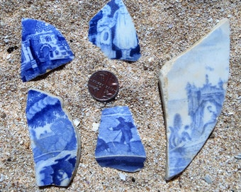 A selection of 5 Thames pottery shards
