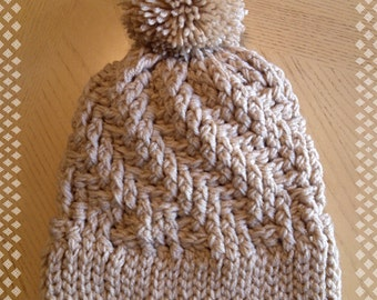 Stepping Texture Hat with PomPom  * Made to Order