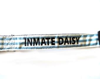 Prison Break Blue and White Dog Collar Personalized Embroidery