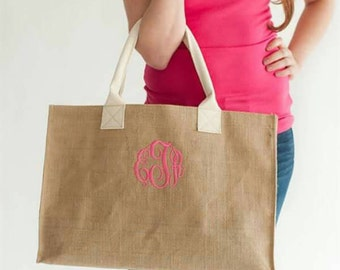 Personalized burlap totes..vinyl or monogram. Name, initials, saying.