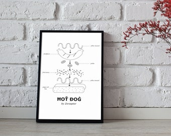 Printed design - hotdog illustration and decoration