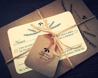 SAMPLE Christmas Rustic Vintage Shabby Chic Wedding Invitations Bundles DIY!