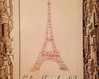 Eiffel Tower Art, Framed Home Decor, Word Collage Print, Print At Home, Personalised Gift, Engagement Gift, Wedding Present, Couples Gifts