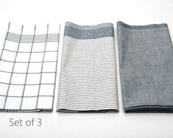 Linen Dish Towels | White Grey Striped Linen Tea Towels set of 3 | Organic Linen Cotton Kitchen Dish Towels | Modern Kitchen Textiles