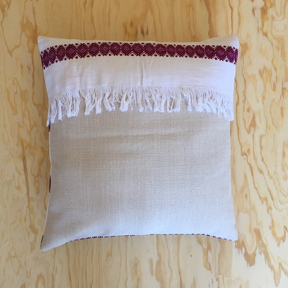 Mexican pillow vintage style hand embroidered by mxhandspace Mexican embroidered bedding