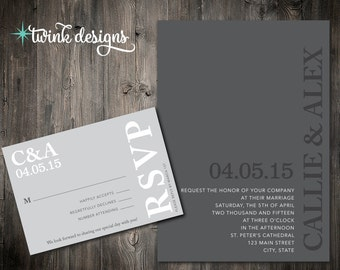 Printable Wedding Invitation | Gray Wedding Invitations | RSVPs | Simple Wedding Invitation | Modern Wedding Invitation