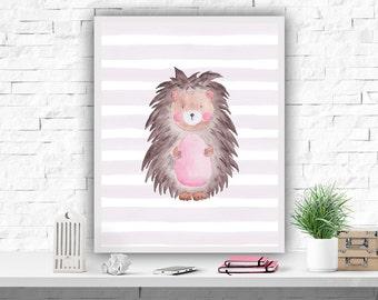 Gift for Kids Nursery Woodland Nursery Printable Art Print Nursery Hedgehog Watercolour Print Kids Room Decor Watercolor Animal