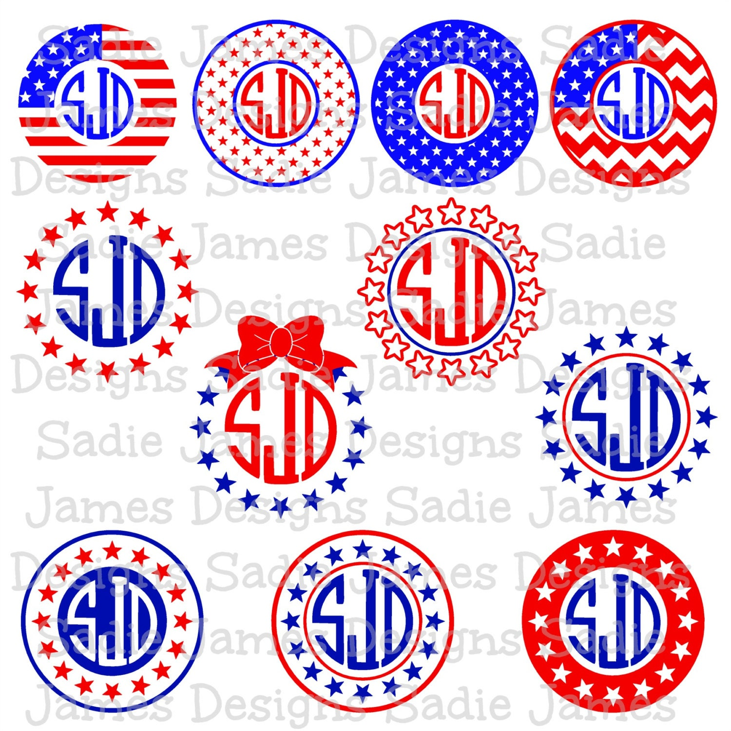 4th Of July Monogram Frames SVG EPS And Silhouette Studio
